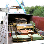 Postolja za dijelove preše u brodu